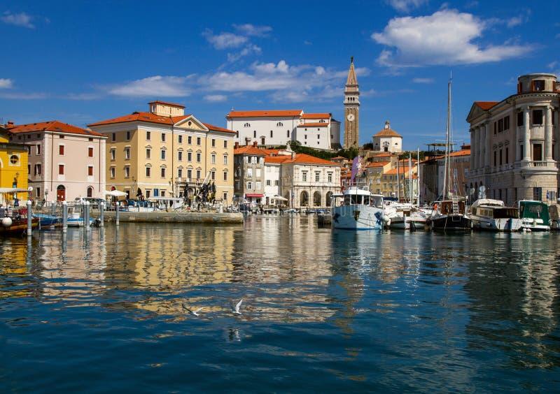 Berömd semesterort av Portoroz slovenska Riviera royaltyfria foton