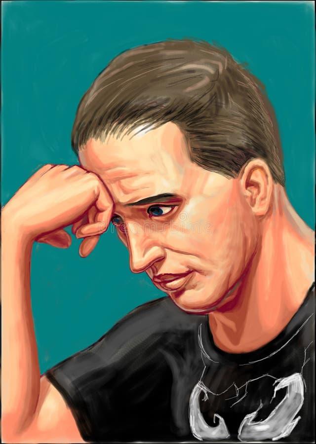 Berömd skådespelare härdade Tom stock illustrationer