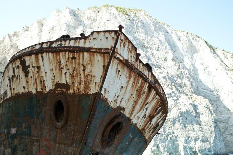 Berömd skeppsbrott på den Navagio stranden - Zakynthos Grekland royaltyfri fotografi