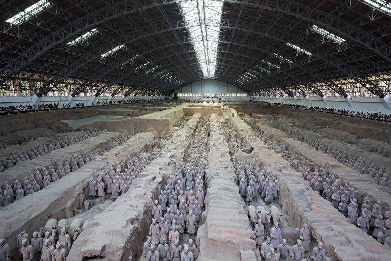 Berömd terrakottaarmé för värld som lokaliseras i Xian China fotografering för bildbyråer