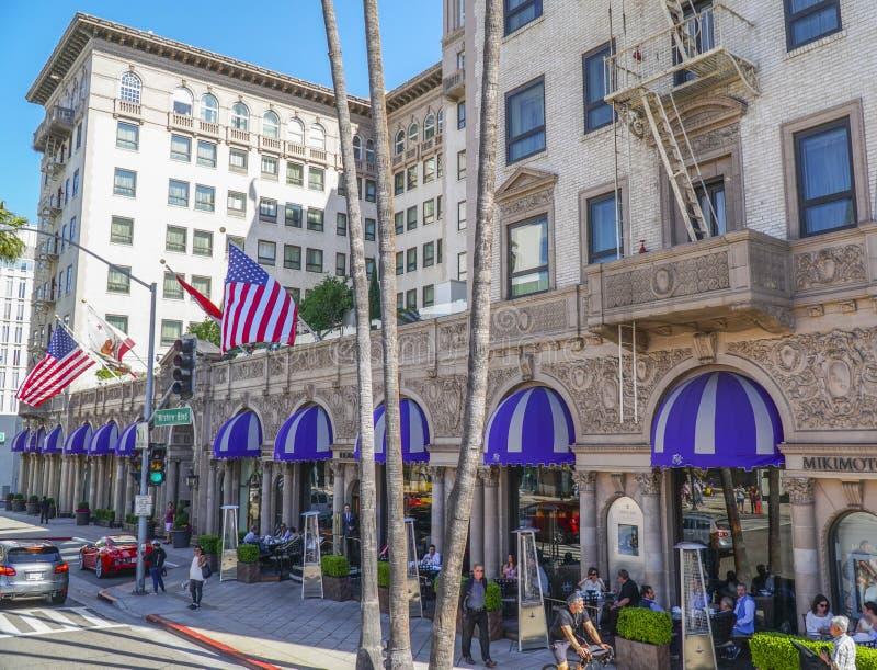 Berömda Beverly Wilshire Hotel i Beverly Hills - LOS ANGELES - KALIFORNIEN - APRIL 20, 2017 royaltyfria foton