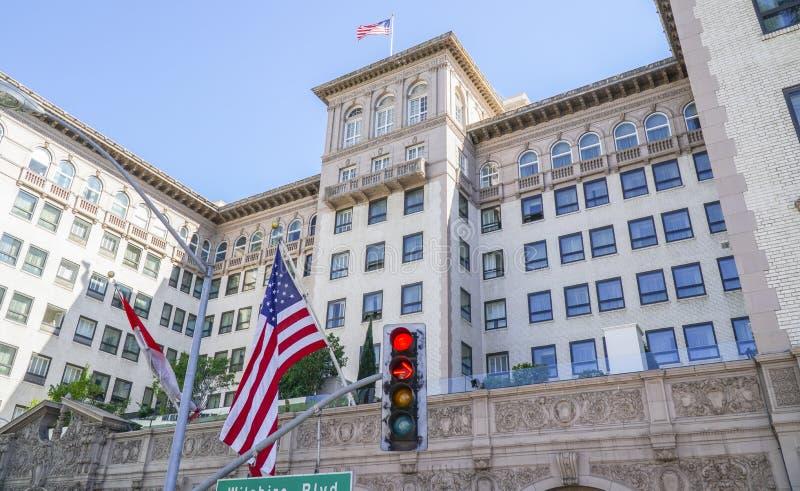 Berömda Beverly Wilshire Hotel i Beverly Hills - LOS ANGELES - KALIFORNIEN - APRIL 20, 2017 royaltyfria bilder