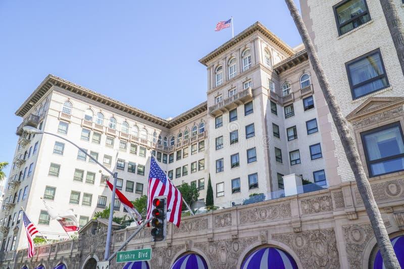 Berömda Beverly Wilshire Hotel i Beverly Hills - LOS ANGELES - KALIFORNIEN - APRIL 20, 2017 arkivbilder
