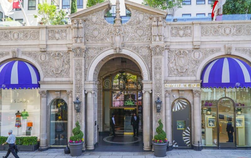 Berömda Beverly Wilshire Hotel i Beverly Hills - LOS ANGELES - KALIFORNIEN - APRIL 20, 2017 arkivbild
