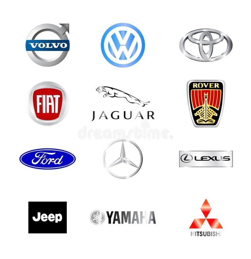 Berömda bilmärken för värld stock illustrationer