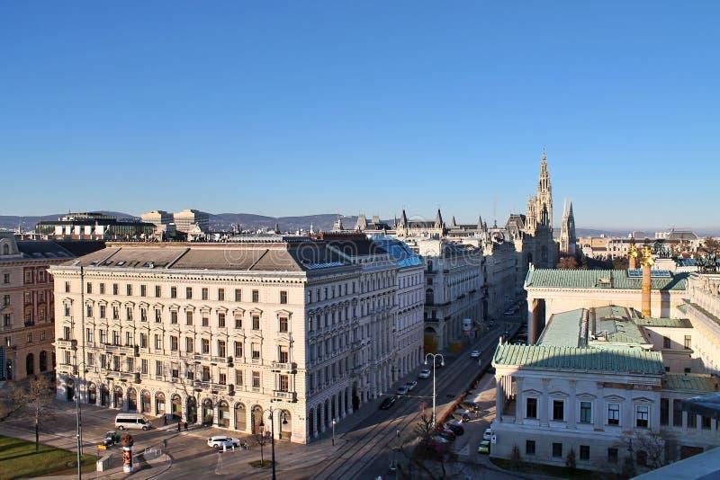 Berömda byggnader och arkitektur av Wien i Österrike Europa fotografering för bildbyråer