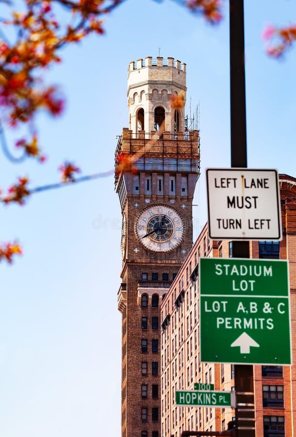 Berömda Emerson Bromo-Seltzer Tower i Baltimore, USA arkivbilder