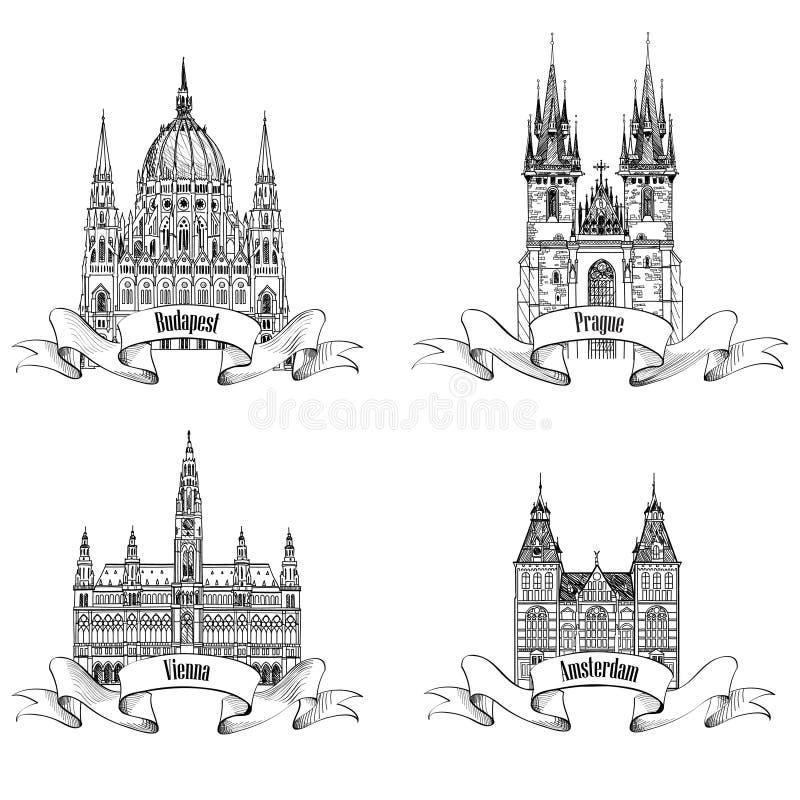 Berömda europeiska byggnader Den drog handen skissar gränsmärkecollectio vektor illustrationer