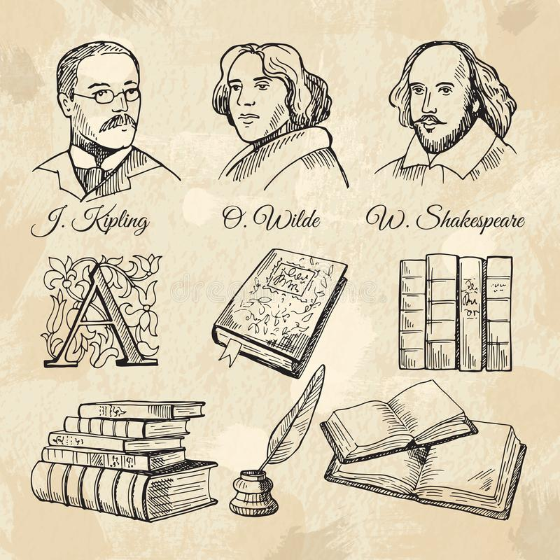 Berömda författare för engelska och olika böcker stock illustrationer