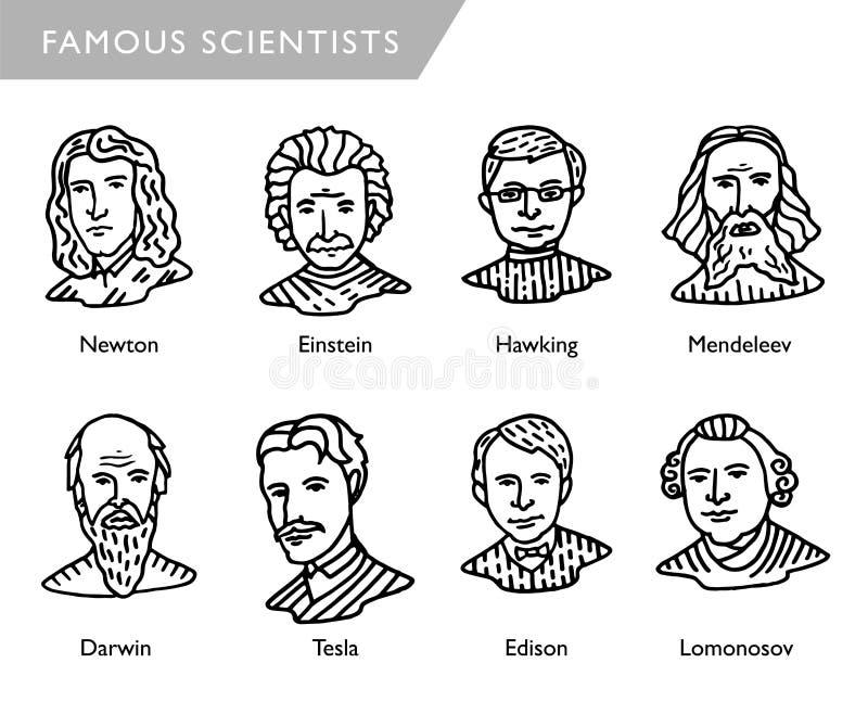 Berömda forskarevektorstående, Newton, Einstein, harklande, Mendeleev, Darwin, Tesla, Lomonosov stock illustrationer