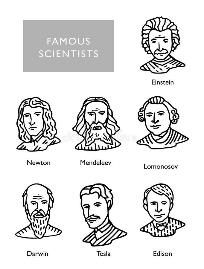 Berömda forskarevektorstående, Newton, Einstein, Mendeleev Darwin Tesla Lomonosov vektor illustrationer