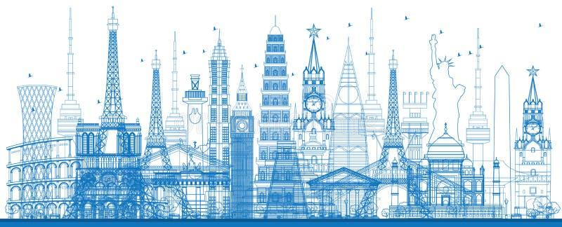 Berömda gränsmärken för översiktsvärld också vektor för coreldrawillustration royaltyfri illustrationer