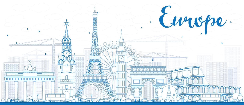 Berömda gränsmärken i Europa Översiktsvektorillustration vektor illustrationer