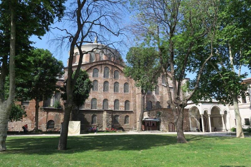 Berömda Hagia Irene - en tidigare östlig ortodox kyrka i det Topkapi slottkomplexet, Istanbul, Turkiet arkivfoton