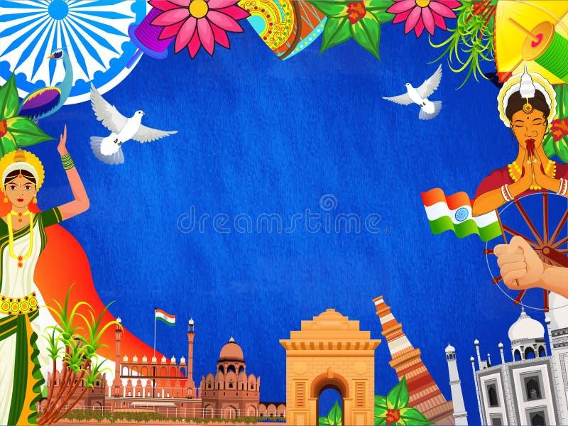 Berömda indiska monument och att salutera arméofficeren med klassiska dansare och andra beståndsdelar som dekoreras på blå bakgru vektor illustrationer