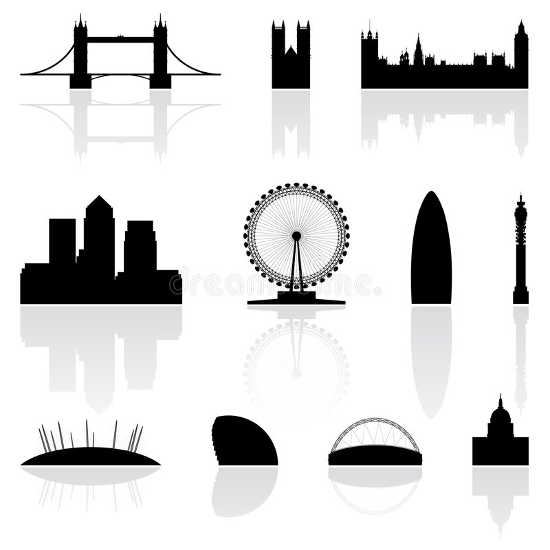berömda landmarks london vektor illustrationer