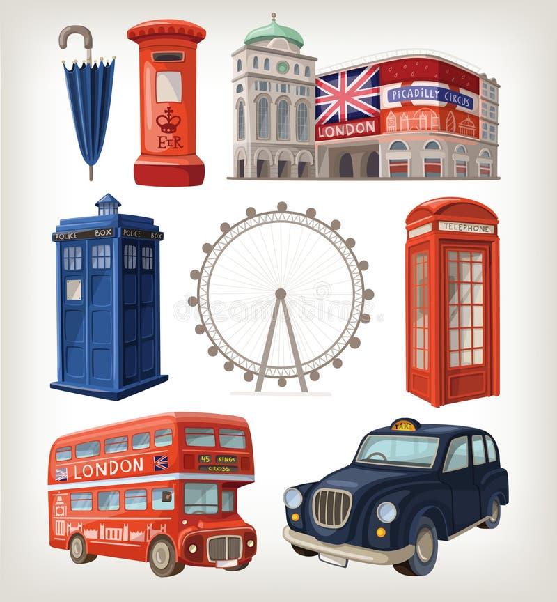 Berömda London sikt och retro beståndsdelar av stadsarkitektur royaltyfri illustrationer