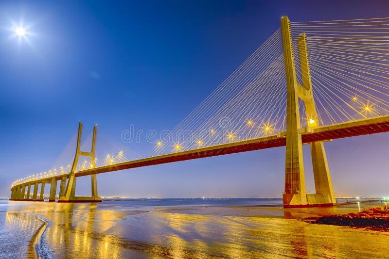 Berömda och berömda pittoreska Vasco Da Gama Bridge i Lissabon royaltyfri fotografi