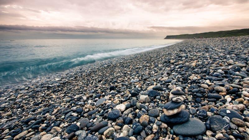 Berömda Pebble Beach i Hualien, Taiwan arkivfoton