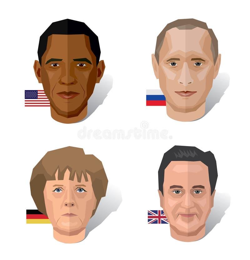 Berömda politikar stock illustrationer