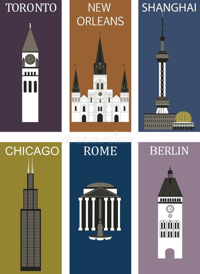 Berömda städer 2. royaltyfri illustrationer