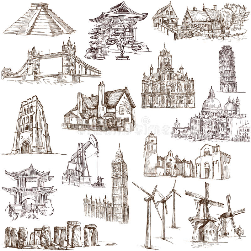 Berömda ställen - 3 royaltyfri illustrationer