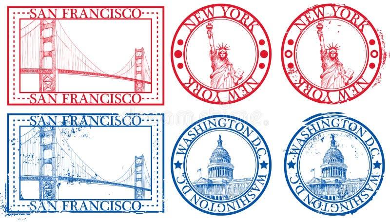 berömda stämplar USA för städer vektor illustrationer