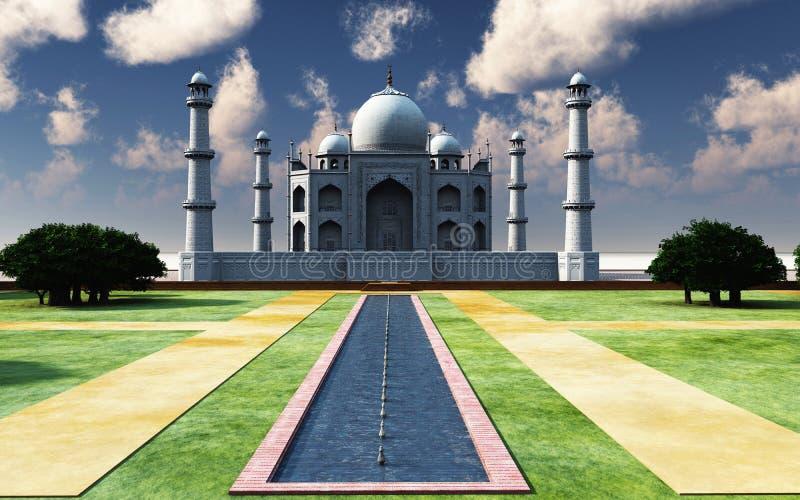 Berömda Taj Mahal i tolkningen för eftermiddag 3d stock illustrationer