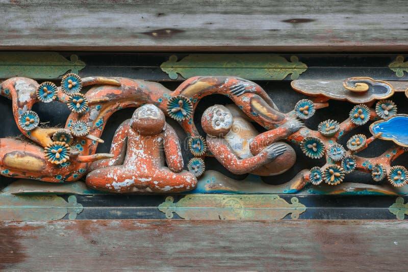 Berömda Tosho-gu träskulpturer arkivbilder