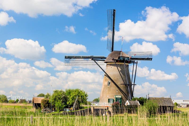 Berömda väderkvarnar i den Kinderdijk byn i Holland Lantligt landskap för färgrik vår med väderkvarnen och blå molnig himmel i Ne arkivbild