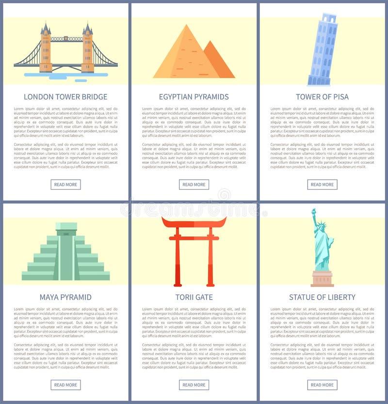 Berömda världsdragningar och arkitekturuppsättning stock illustrationer