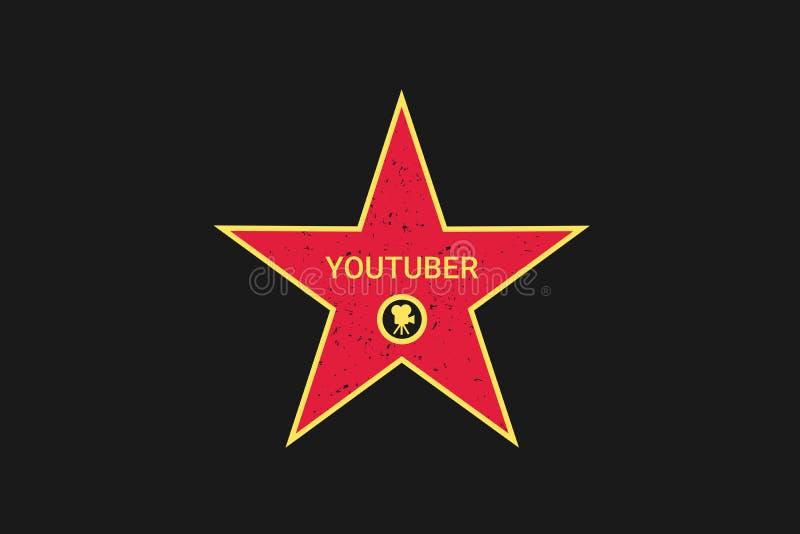 Berömda Youtuber har stjärnan på gå av berömmelsen vektor illustrationer