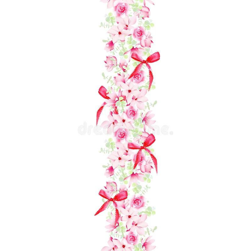 Berömgirland med sömlösa magnolior, rosor och pilbågar stock illustrationer