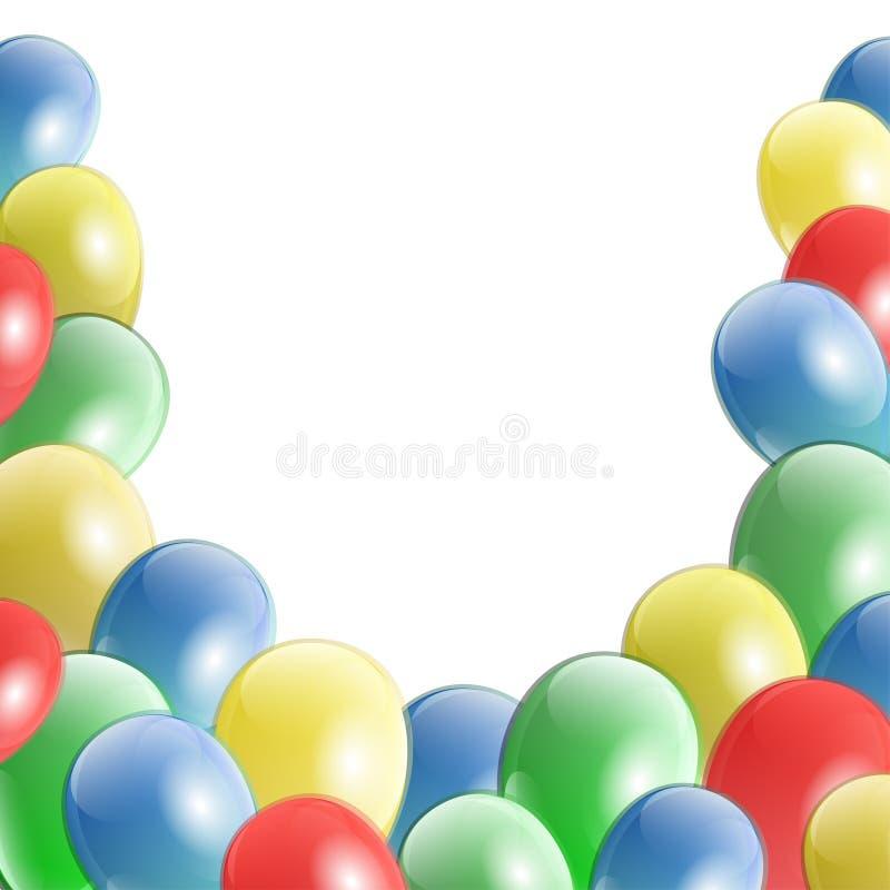 Berömpartibaner med färgrika skinande ballonger stock illustrationer