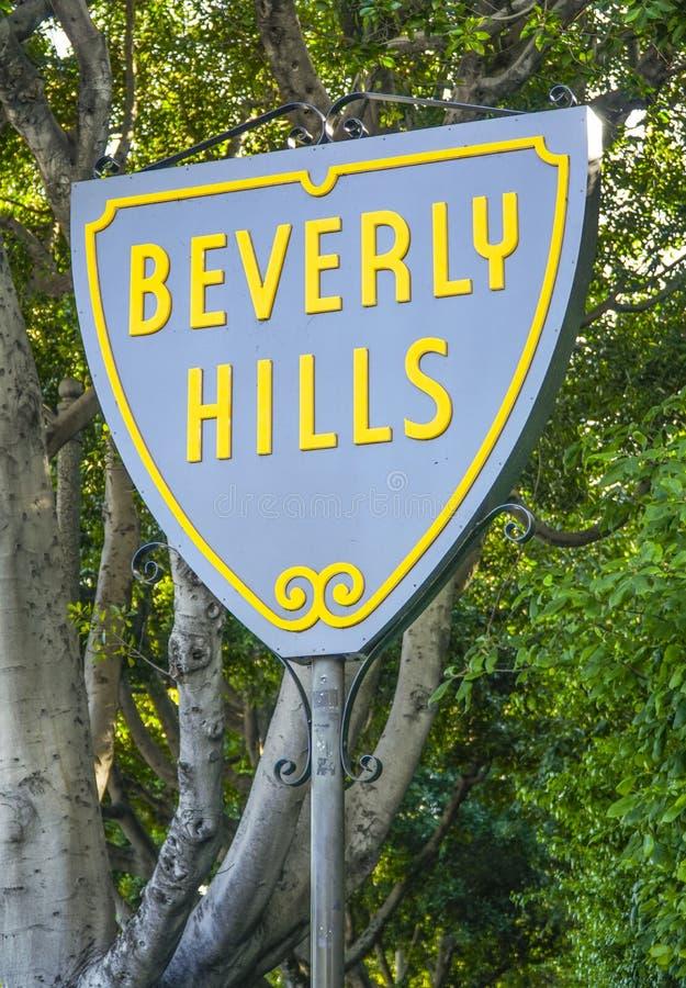 Berömt Beverly Hills tecken - LOS ANGELES - KALIFORNIEN - APRIL 20, 2017 royaltyfri bild