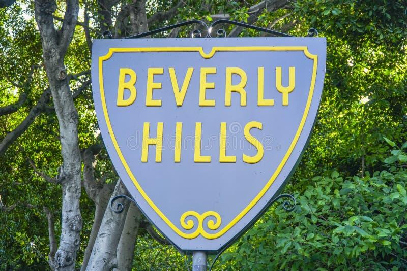 Berömt Beverly Hills tecken - LOS ANGELES - KALIFORNIEN - APRIL 20, 2017 fotografering för bildbyråer