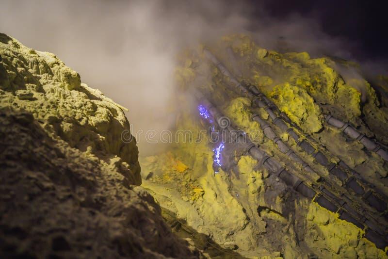 Berömt den blåa branden inom krater av den Ijen vulkan på Java Island, Indonesien, var för gruvarbetare svavel mot efterkrav det royaltyfria foton