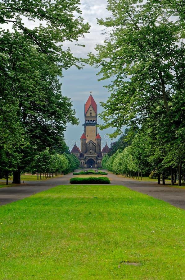 Berömt kapellkomplex i södra kyrkogård i Leipzig, Tyskland royaltyfri foto