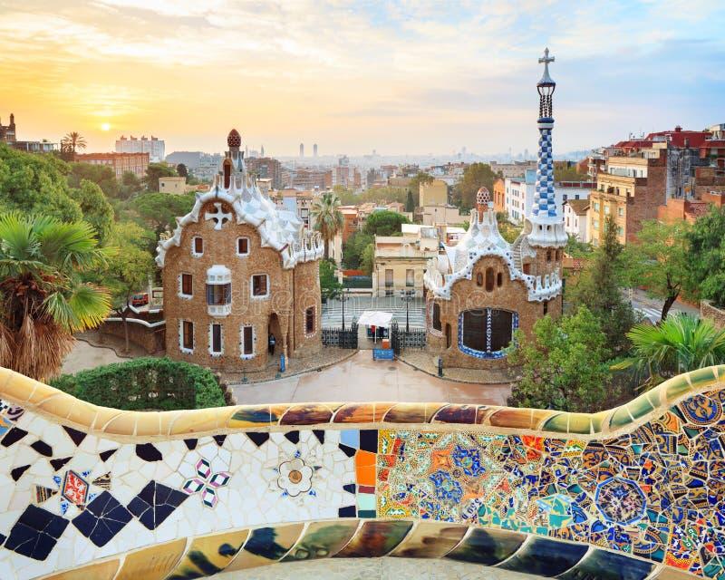 Berömt parkera Guell, Spanien arkivbilder