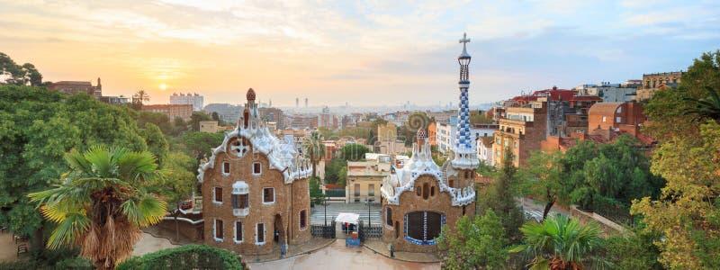 Berömt parkera Guell, Spanien royaltyfri bild