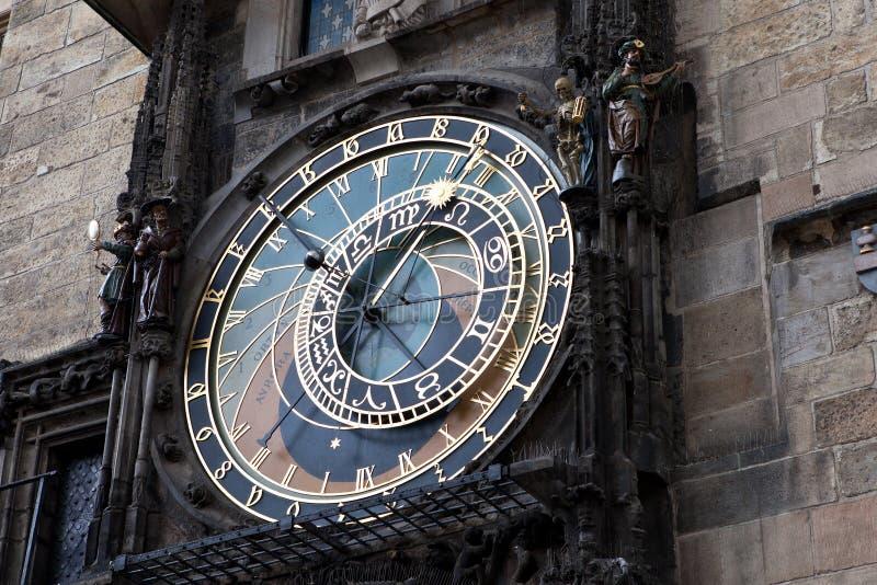 Berühmte alte mittelalterliche astronomische Borduhr in Prag lizenzfreie stockbilder