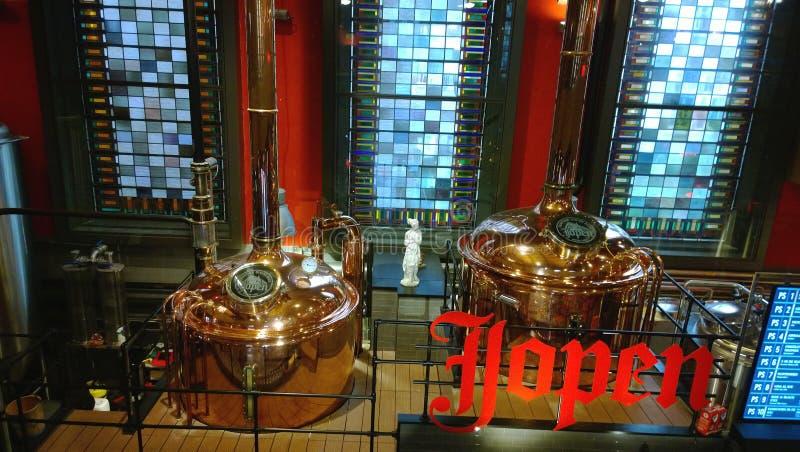 Berühmte Brauerei in einer brauenden Firma Jopen der Kirche in Haarlem lizenzfreie stockbilder