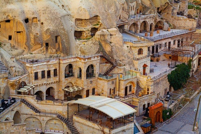 Berühmte Höhlenhotels in Goreme, Capadokkia stockfotografie