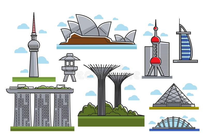 Berühmte moderne futuristische Marksteine lokalisierte Karikaturillustrationen eingestellt vektor abbildung