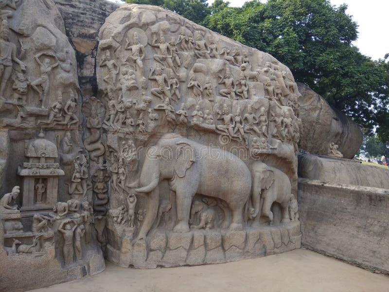 Berühmte Steinelefantskulptur Mahapalipuram lizenzfreies stockfoto