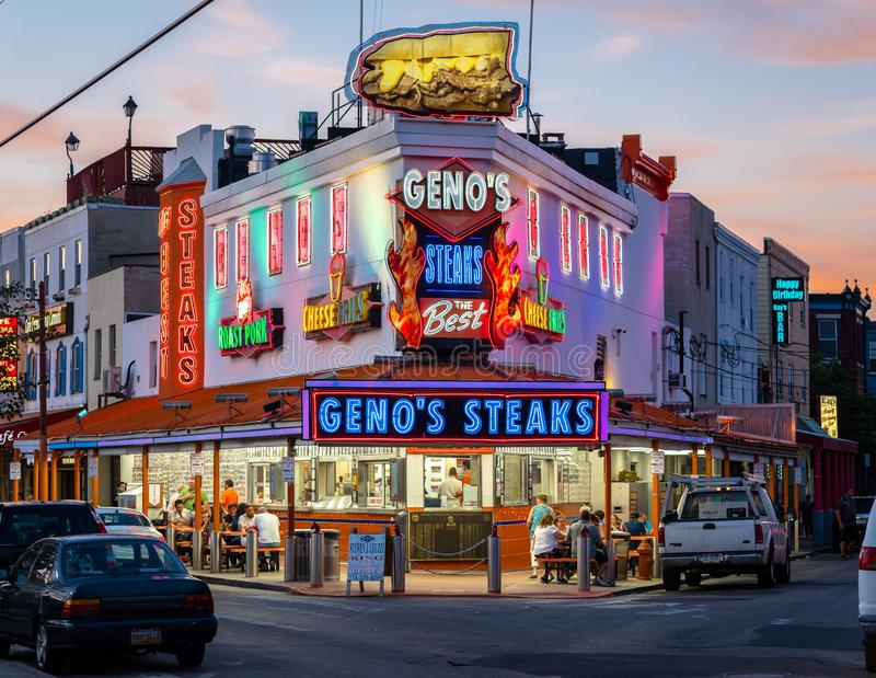 Berühmte Stelle Philadelphias haus- Geno-` s Steaks lizenzfreie stockbilder