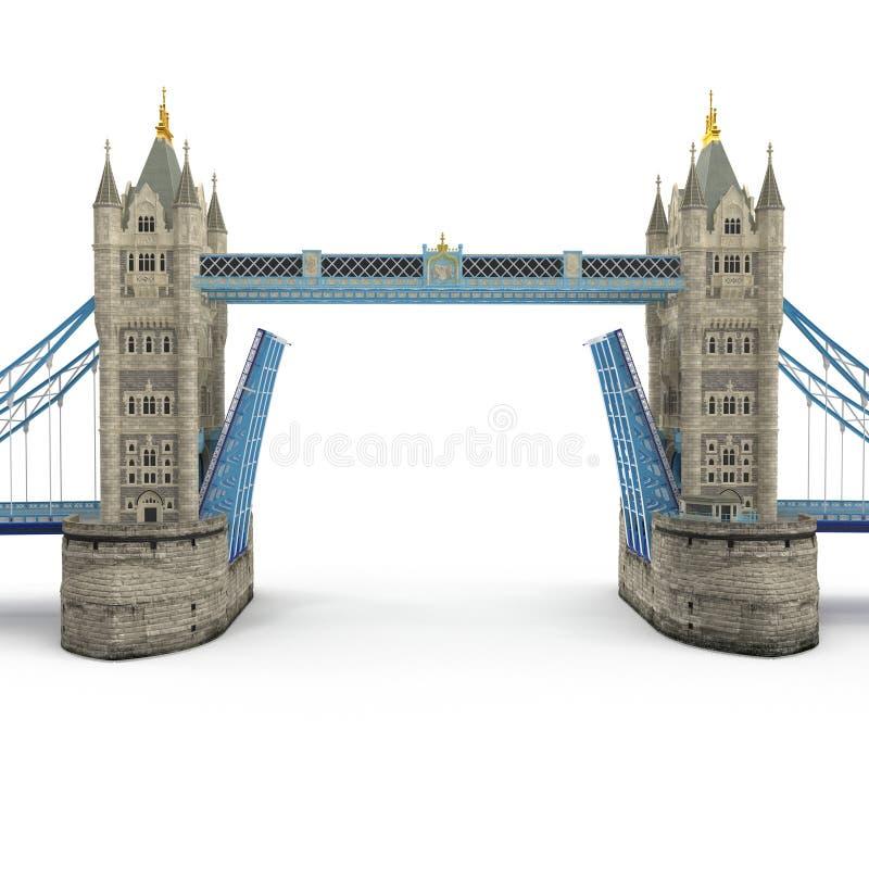 Berühmte Turm-Brücke London, Großbritannien auf Weiß Abbildung 3D stock abbildung