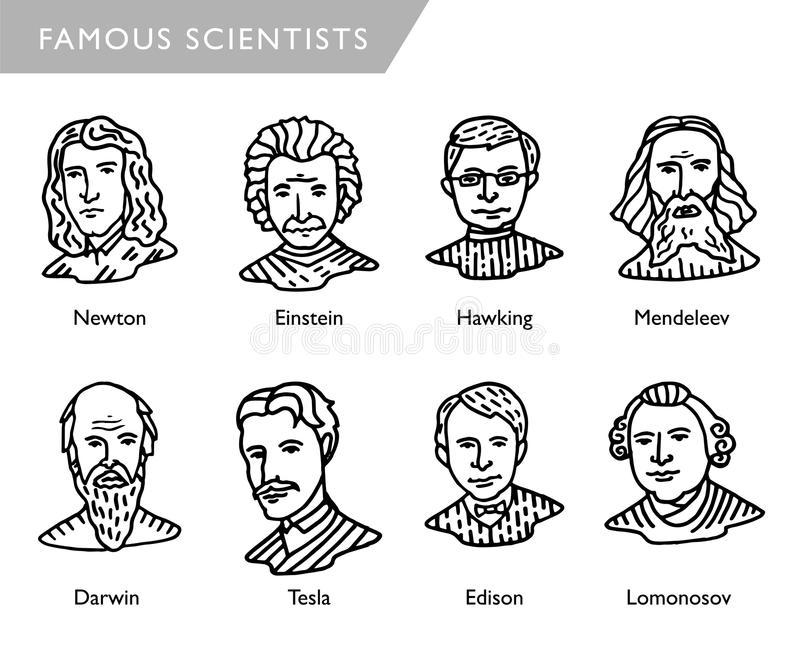 Berühmte Wissenschaftler vector Porträts, Newton, Einstein, Hawking, Mendeleev, Darwin, Tesla, Lomonosov stock abbildung