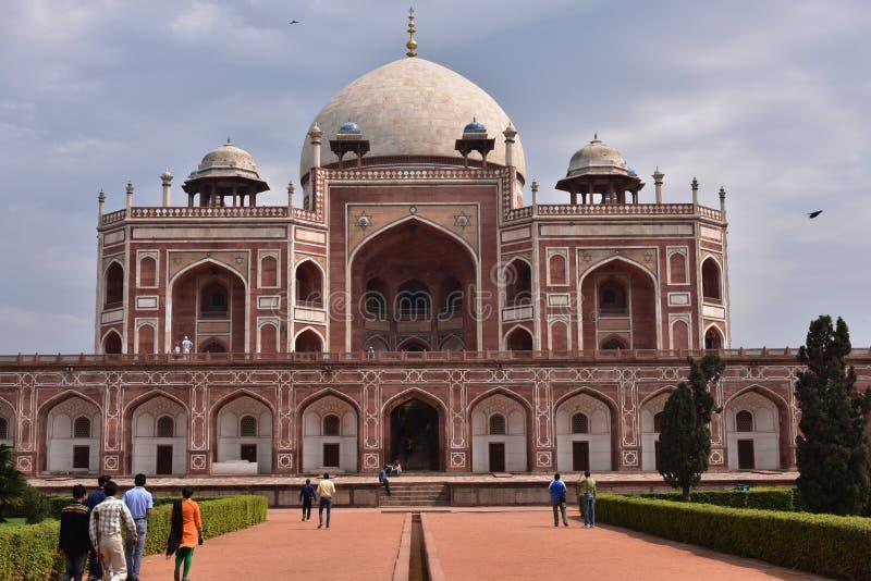 Berühmten Humayuns Grab in Delhi, Indien Es ist das Grab des Mughal-Kaisers Humayun lizenzfreie stockfotografie