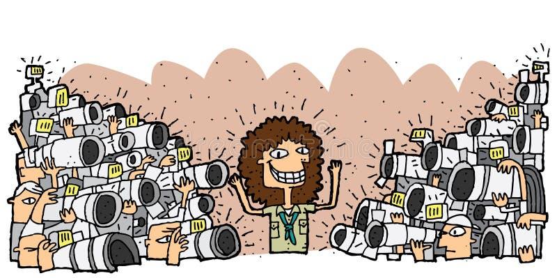 Berühmter Charakter umgeben von der Menge von Paparazzi vektor abbildung